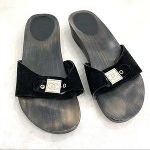 CHANEL wood sandals